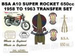 BSA A10 Super Rocket 1958 to 1963 Transfer Decal Set